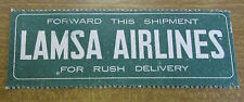 Vintage Original Aeroplane  Trunk / Luggage Label - Lamsa Airlines Rush Delivery