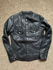 All Saints MONSTER Leather Shirt Jacket Size Small Excellent Condition Black