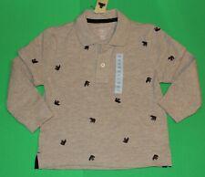 3t 3 Nwt Gap Tan Gray Bear Embroidered Long Sleeve Shirt Top Boys