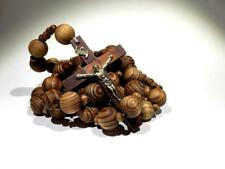 """Wall ROSARY Giant Big Beads Rosario Natural Wood Jesus Wooden Cross XL Large 40"""""""