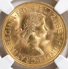 1958 Great Britain Elizabeth II Gold Sovereign S-4125 NGC MS-64 1st portrait