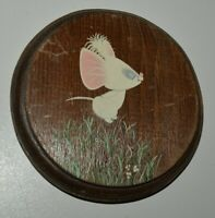 Nice Vintage 1970s Wooden Small Round MOUSE Jumping Grass Painted Wall Art Rare