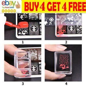 Clear Silicone Nail Art Jelly Stamping Stamper + Scraper Plate Manicure Tools sr