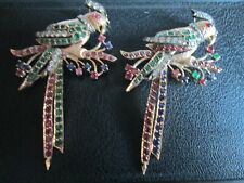 ruby and sapphire pin brooch not sc 14k yellow gold pair parrots diamond emerald