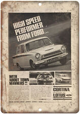 "Ford Cortina by Lotus Britan Vintage Ad 10"" x 7"" Reproduction Metal Sign A34"