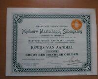 Niederlande Mijnbouw Maatschappij Siloengkang Aktie 1909 Niederländisch Indien