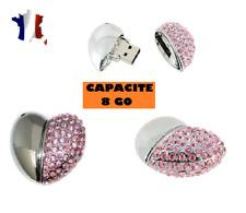 PENDANT AND NECKLACE SILVER USB KEY 8 GB-CORE DIAMOND-RHINESTONES ROSES