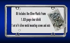Silver Plastic Frame Kit Shield Silver Screws Gifts Autos Cars Plate Holder