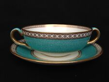 Wedgwood Ulander Turquoise Cream Soup Bowl Cup And Saucer W1503. 8 Available.