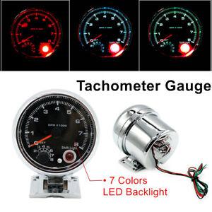 """Durable Shockproof 3.75"""" Car 12V Tachometer Gauge 0-8000 RPM For 4/6/8 Engine"""