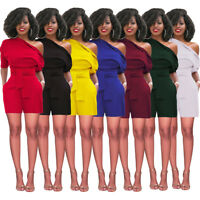 Sexy Women Jumpsuit Casual Dresses Bodycon Rompers Playsuit Oblique Collar