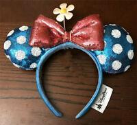 New Disney Parks Minnie Mouse Sunflower Flower Polka-dot Blue Red Ears Headband