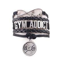 Charm Bracelet Gym Addict Sport Fitness Men Jewelry Infinity Love Black Leather