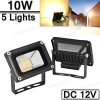 5X 10W LED Flood Light Warm White Superbright Outdoor Security Work Lamp DC 12V
