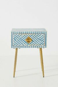 Bone Inlay Blue & White Stripe Design Bedside Table Nightstands With Insurance