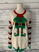 Ugly Christmas Sweater Sz L Stripe Elf Long Sleeve White Green Red Womens Tunic
