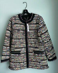 NEW Ann Taylor $198 Pink Green Orange Blue Red White Black Zip Tweed Jacket S