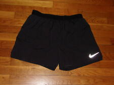 NIKE DRI-FIT BLACK ATHLETIC RUNNING SHORTS WITH LINER MENS LARGE EXCELLENT COND.