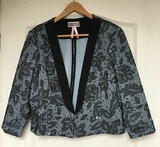 """""""Lipsy"""" Women's Cropped Jacket, Size 16, Blue/Black Lace Effect, Excellent Cond"""