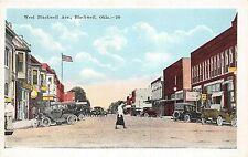 A40/ Blackwell Oklahoma Ok Postcard c1920 West Blackwell Avenue Stores Autos