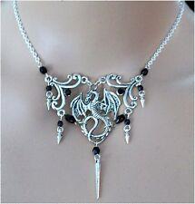 ^v^Collier*Dark Dragon*Choker*Gothic*Larp*Burlesque*schwarz*necklace*Drachen^v