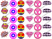 Pink Girl Marvel DC Superhero Logos Edible Icing/Rice Paper Cupcake Toppers