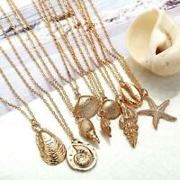 Fashion Boho Sea Shell Alloy Pendant Chain Choker Necklace Women Beach Jewelry