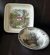 "Johnson Brothers Friendly Village Square Baker Dish and 8"" Salad Bowl"