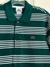 LACOSTE Men's Hunter Green Stripe Polo Shirt Size 5 Authentic