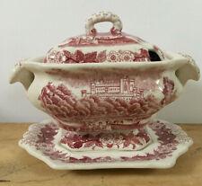 Red Transferware Ceramic Small Soup Gravy Sauce Tureen w/Plate Castle Dogwood