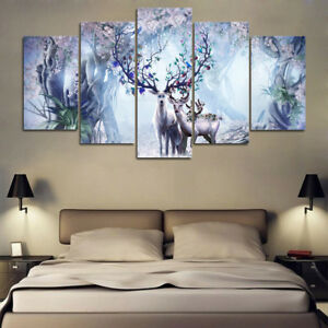 HD Printed Painting 5 Pieces Abstract Beautiful Flower Deer Family Posters