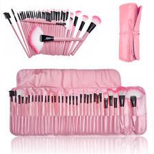 24 Piece Professional Kabuki Make Up Brush Set and Cosmetic Brushes Case (pink)