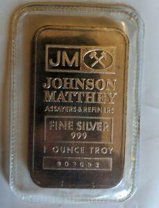 JM Johnson Matthey 1 Oz .999 Fine Silver Bullion Bar Serial Number Sealed