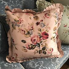 Shabby Cottage Down Filled Throw Pillow Pink Roses Chic Ruffles 20X22 Rodeo Home