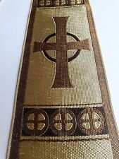 "Orphrey Cross Design Banding Gold Beige for Vestment Rayon 3"" wide Sold by Yard"