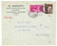 s23328) ITALIA 9.2.1953 Pubbl. Espresso Milano Palermo - L. 25 Gemito + L. 50 E