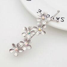 Womens Bridal Flower Rhinestone Barrette Crystal Hair Clip Bobby Pin Headwear