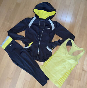BEBE SPORT 3 PC Grey/Neon Yellow Hoodie Jacket(S) + Capri Leggings(S) +Tank S)