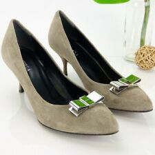 Furla 8.5 Pump Pointed Ash Taupe Gray Suede Leather Silver Metallic Bow Italy