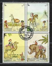 "Sharjah, Cto, plate block of 4 air mail stamps from 1972 ""Animals"", see scan"