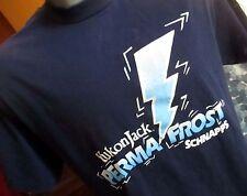 LARGE TRUE Vtg 90s YUKON JACK FROST SCHNAPPS TRASHED BLUE T-Shirt  USA