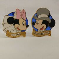 Disney Mickey Bridegroom and Minnie Bride Stained Glass Pin Set 7404 & 7405