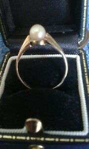 Ladies Vintage 9 Ct Gold Pearl Ring UK size N USA 7 London Hallmarked UK USA