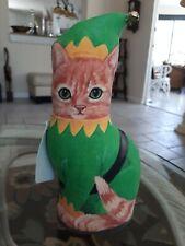 """Adeline Halvorson Fiddler's Elbow Orange Tabby Elf Cat Door Stop ~ 91/2""""H"""