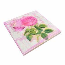 Vintage Napkins Paper Tissue Pink Rose Decoupage Wedding Birthday Serviettes A28