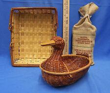Wild Rice Packaged For John Deere in Wicker Duck Gift Basket & a Rattan Basket