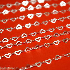 100 feet Sterling Silver 925 3x5mm Hammered Flat HEART CHAIN Bulk Continuous