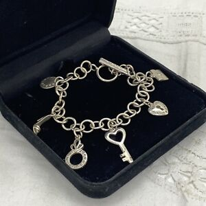 STERLING SILVER Charm Bracelet 925 Chain Summer Holiday Key Love Shoe Bag