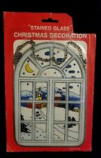 Vintage Stained Glass Christmas Window Decoration w/ Snowman & Village - NIP