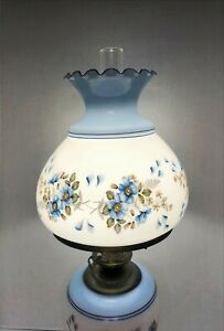 """Accurate Casting 3 Way Hurricane Lamp 25"""" White & Blue with Blue Flowers"""